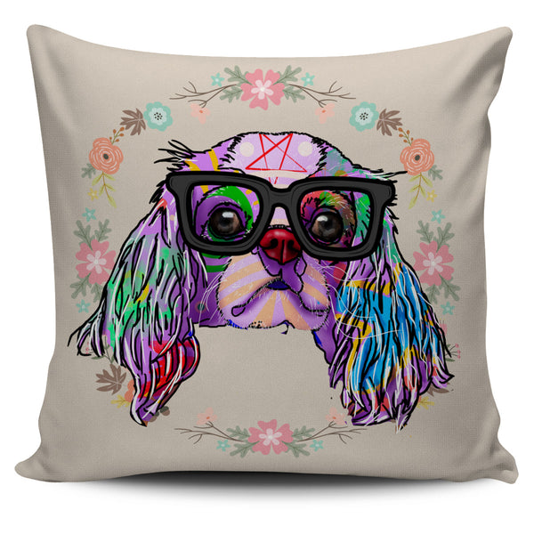 Cavalier King Charles Spaniel Dog Breed Pillow Covers (Glasses)