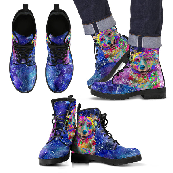 Australian Shepherd Dog Men's Premium Leather Boots (Cosmic Stardust)