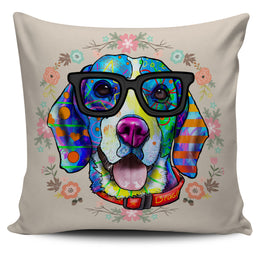 Beagle Dog Breed Pillow Covers (Glasses)