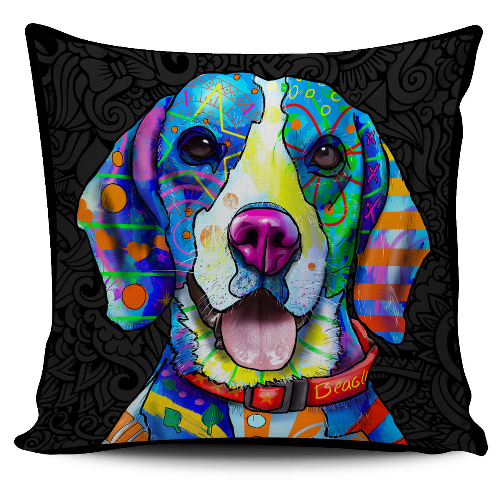 Beagle Dog Breed Pillow Covers (Dark Love Doodles)