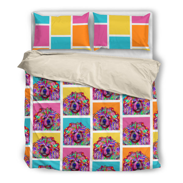 Chow Dog Breed Duvet Cover Bedding Set (Colorful Rectangles)