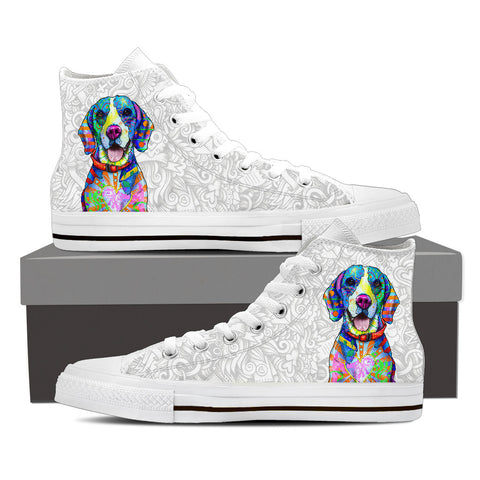 Beagle Women's Dog Breed High Top Canvas Shoes (Light Love Doodles)