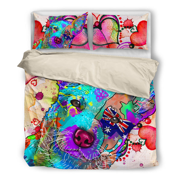 Australian Cattle Dog Breed Bed Sheets Duvet Cover Bedding Set (Watercolor Dreams)