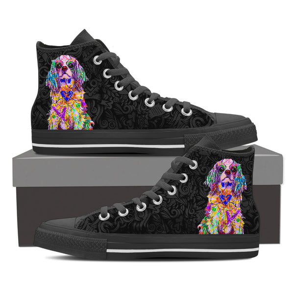 Cavalier King Charles Spaniel Dog Men's Dark Love Doodles High Top Canvas Shoes (Black Sole)