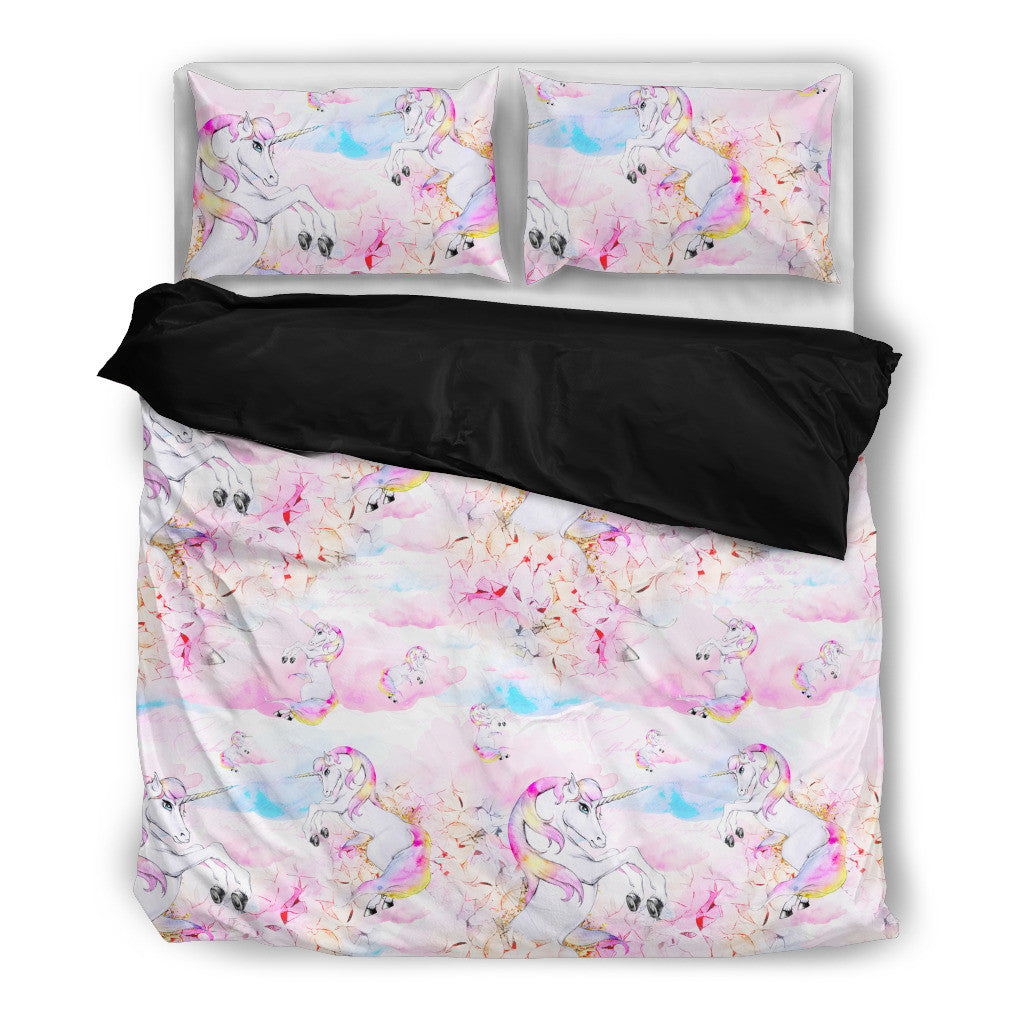 rainbow clouds unicorn bedding set duvet pillow cases twin queen king - Unicorn Bedding