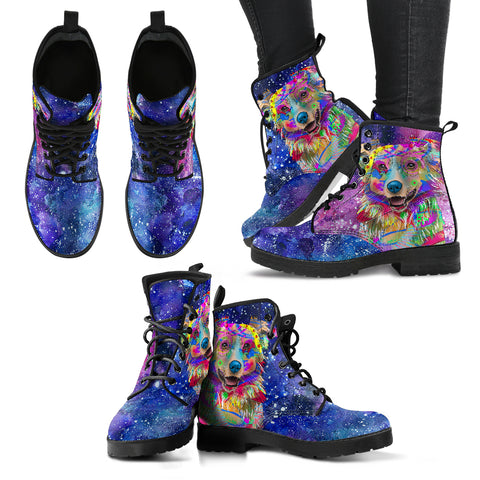 Australian Shepherd Dog Women's Premium Leather Boots (Cosmic Stardust)