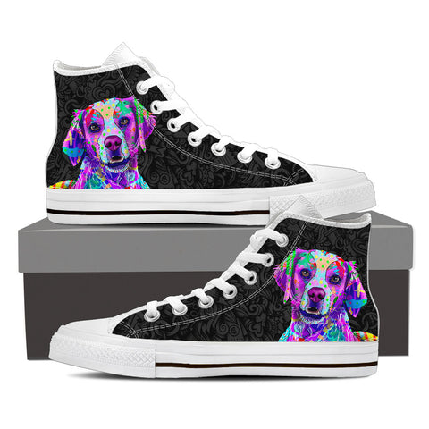 Brittany Women's Dog Breed High Top Canvas Shoes (Black Love Doodles)