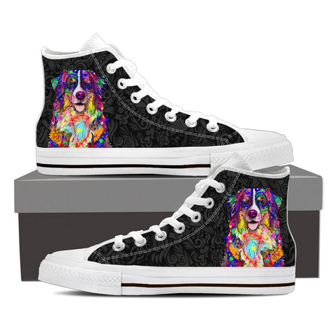 Bernese Mountain Dog Men's Dog Breed High Top Canvas Shoes (Black Love Doodles)