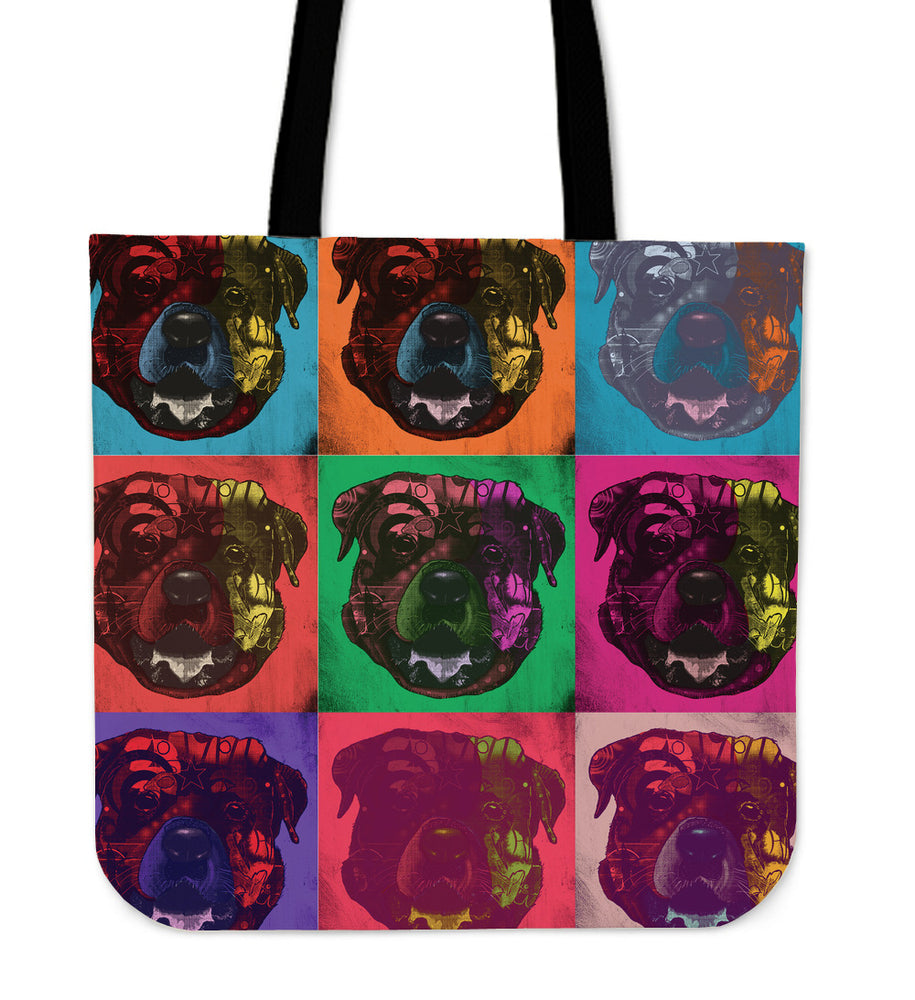 Rottweiler Dog Breed Tote Bag (Andy Warhol Pattern)