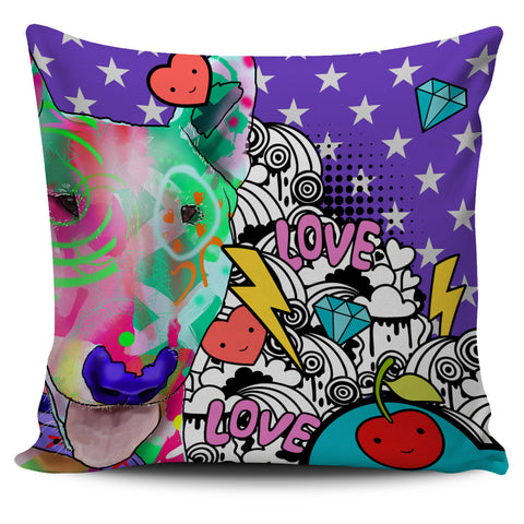 Bull Terrier Dog Breed Pillow Covers (Fun Love Carnival)