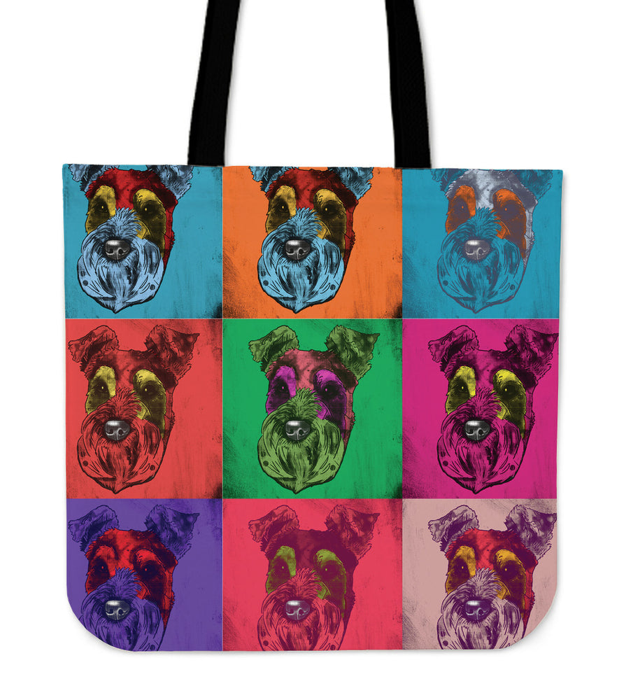 Schnauzer Dog Breed Tote Bag (Andy Warhol Pattern)