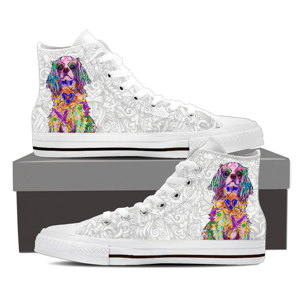 Cavalier King Charles Spaniel Dog Men's Light Love Doodles High Top Canvas Shoes (White Sole)