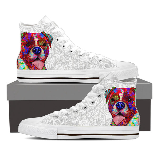 Boxer Dog Men's White Love Doodles High Top Canvas Shoes (White Sole)