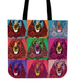 English Cocker Spaniel Dog Breed Tote Bag (Andy Warhol Pattern)