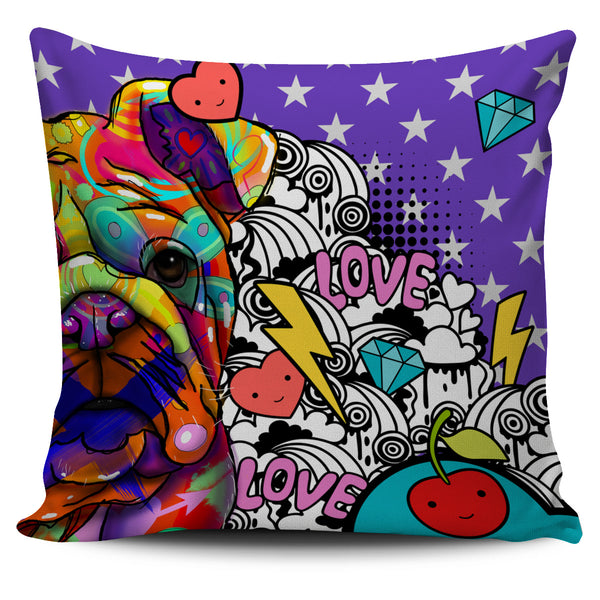 Bulldog Dog Breed Pillow Covers (Fun Love Carnival)