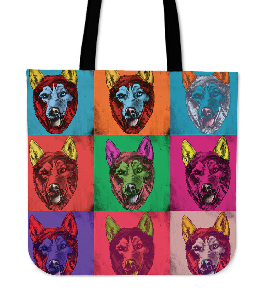 Siberian Husky Dog Breed Tote Bag (Andy Warhol Pattern)