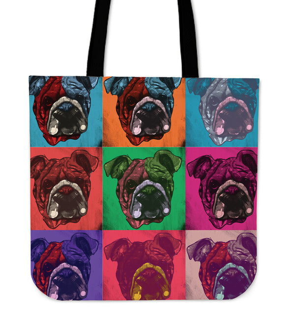 Bulldog Dog Breed Tote Bag (Andy Warhol Pattern)