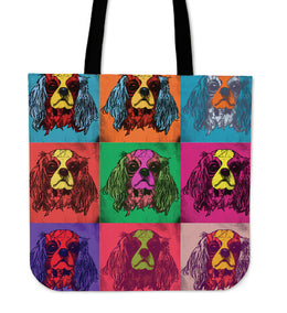 Cavalier King Charles Spaniel Dog Breed Tote Bag (Andy Warhol Pattern)