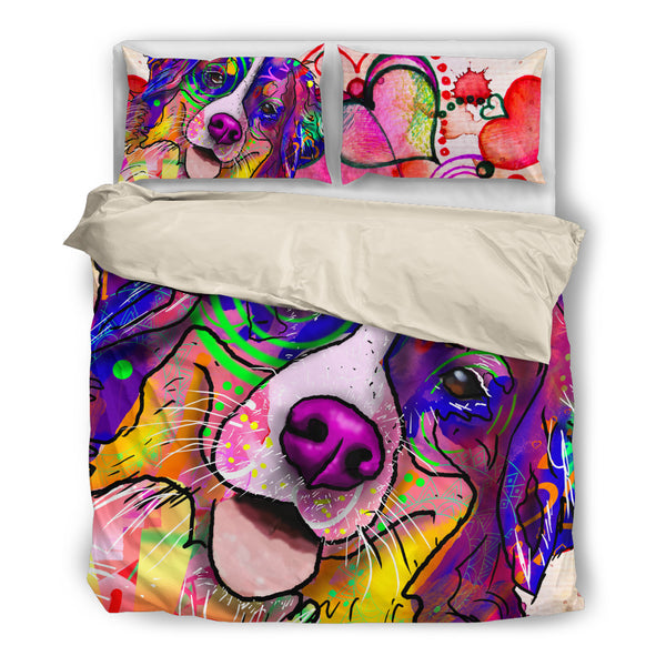 Bernese Mountain Dog Breed Duvet Cover Bedding Set (Watercolor Dreams)