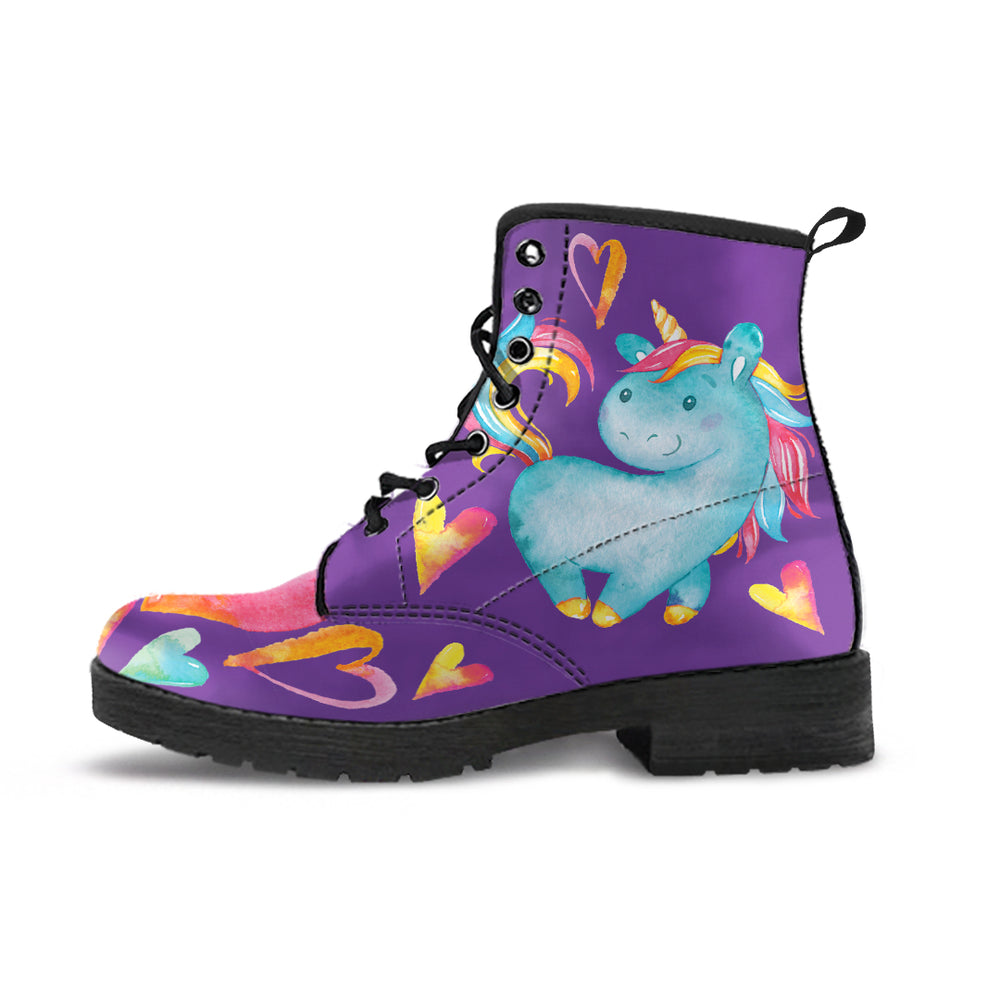 Unicorn Hearts Purple Women's Leather Boots