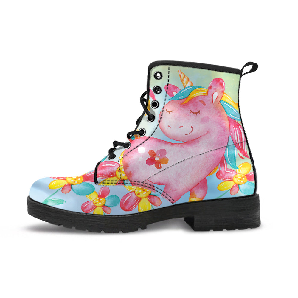 Unicorn Flowers Blue Women's Leather Boots