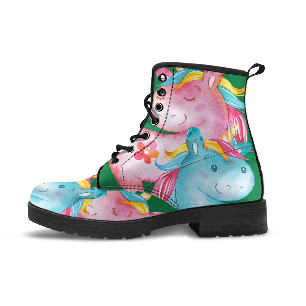 Unicorn Medley Green Women's Leather Boots