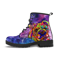 Bulldog Dog Women's Premium Leather Boots (Cosmic Stardust)