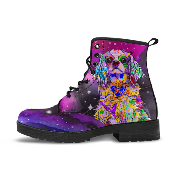 Cavalier King Charles Spaniel Dog Women's Premium Leather Boots (Watercolor Dreams)
