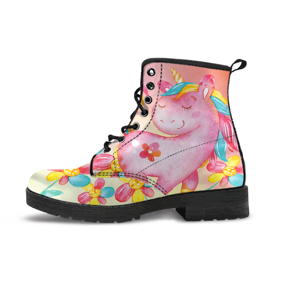 Unicorn Hearts Yellow Women's Leather Boots