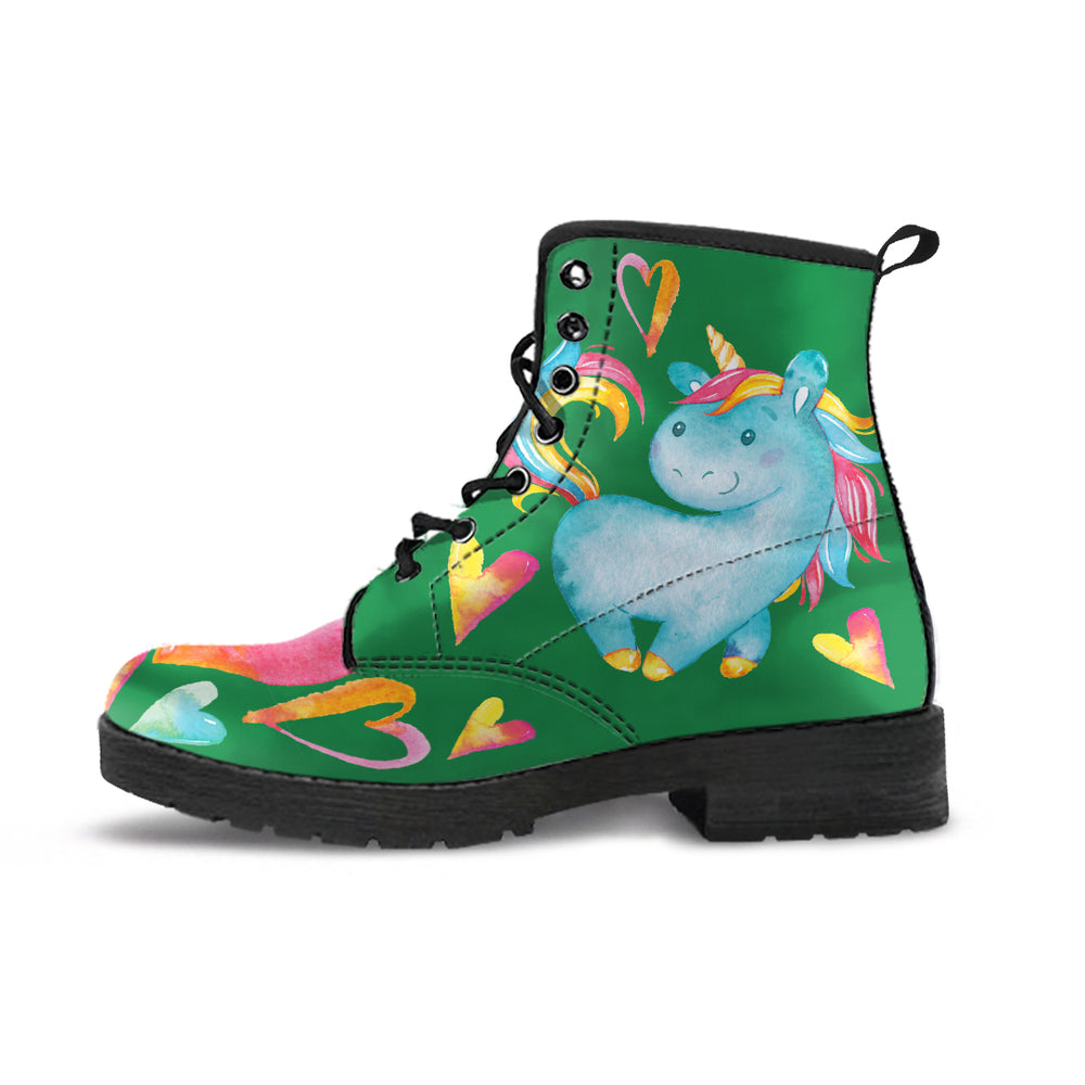 Unicorn Hearts Green Women's Leather Boots