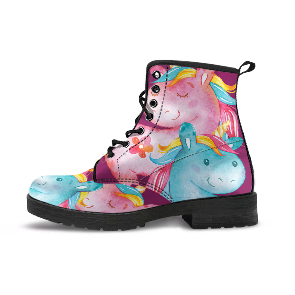 Unicorn Medley Purple Women's Leather Boots