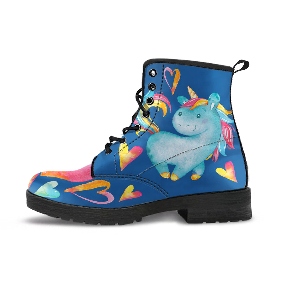 Unicorn Hearts Blue Women's Leather Boots