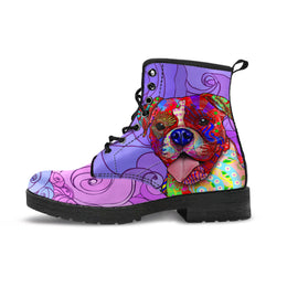 Boxer Dog Women's Premium Leather Boots (Swirlicious)