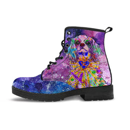 Cavalier King Charles Spaniel Dog Women's Premium Leather Boots (Cosmic Stardust)