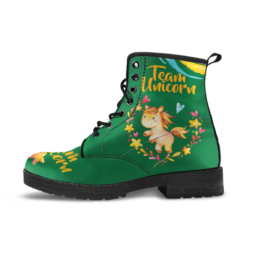 Team Unicorn Green Women's Leather Boots