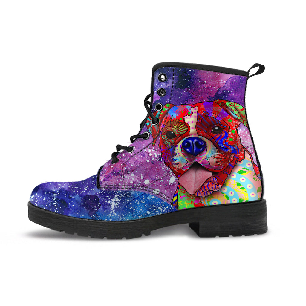 Boxer Dog Women's Premium Leather Boots (Cosmic Stardust)
