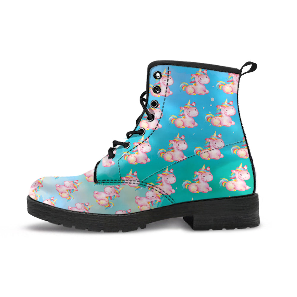 Mini Unicorn Stardust Blue & Green Women's Leather Boots