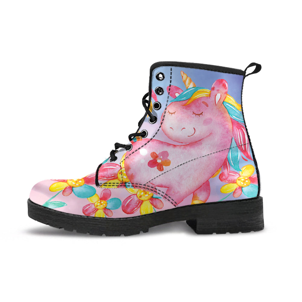 Unicorn Flowers Pink Women's Leather Boots