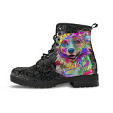Australian Shepherd Dog Women's Premium Leather Boots (Dark Love)