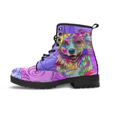 Australian Shepherd Dog Women's Premium Leather Boots (Swirlicious)