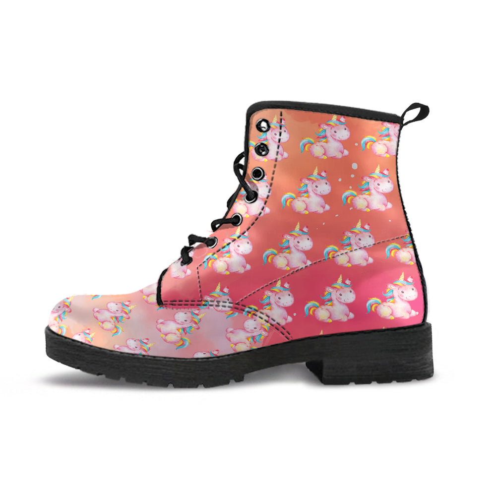 Mini Unicorn Stardust Orange Women's Leather Boots