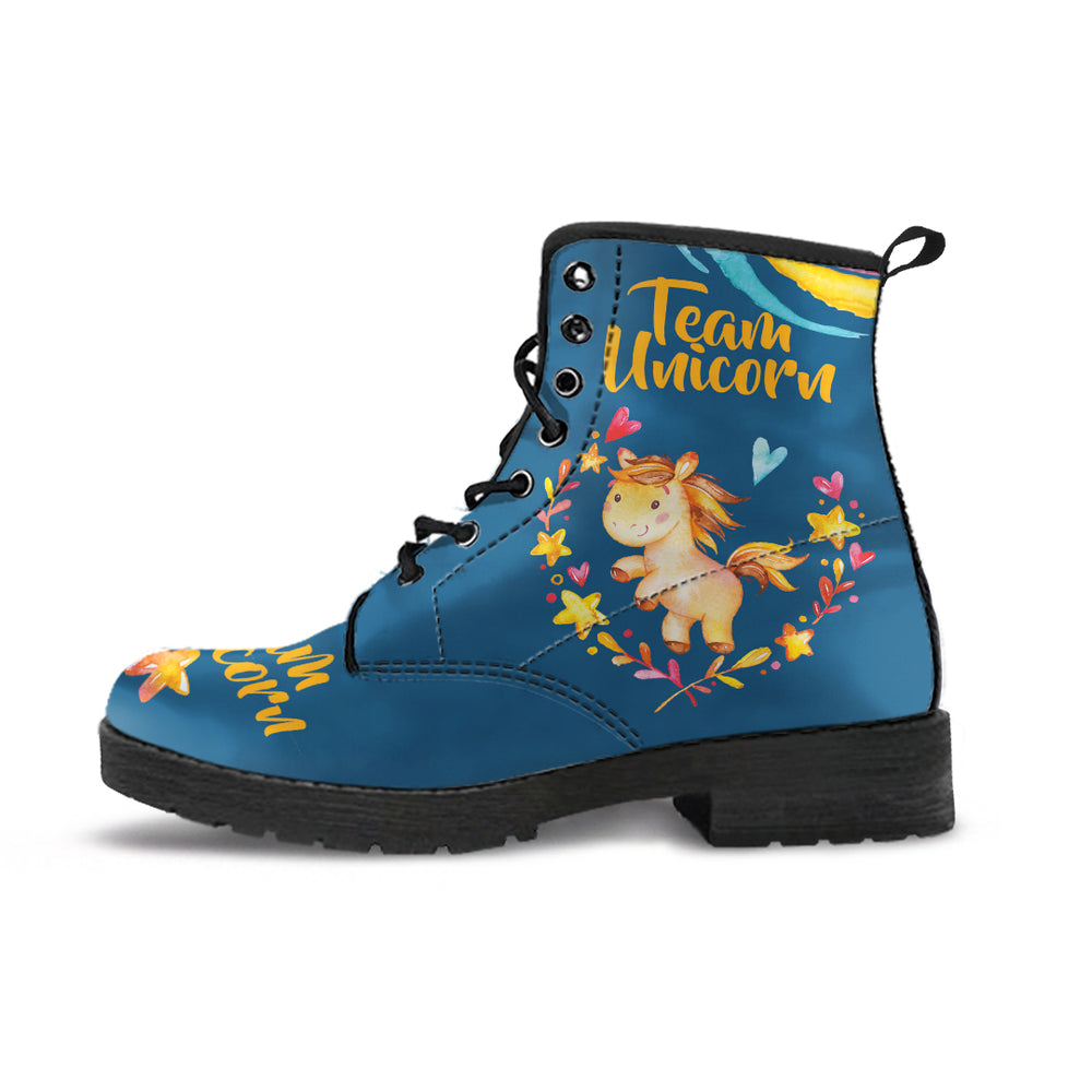 Team Unicorn Blue Women's Leather Boots
