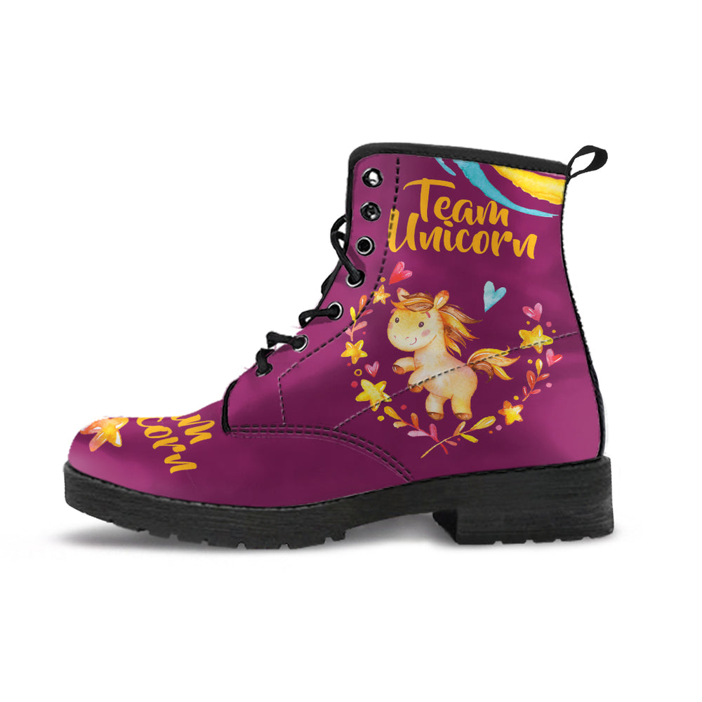Team Unicorn Purple Women's Leather Boots