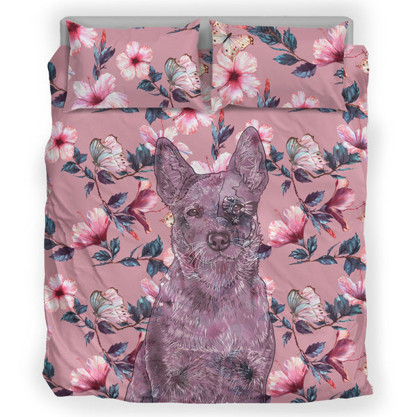 Australian Cattle Dog Breed Bed Sheets Duvet Cover Bedding Set (Pink Flowers)