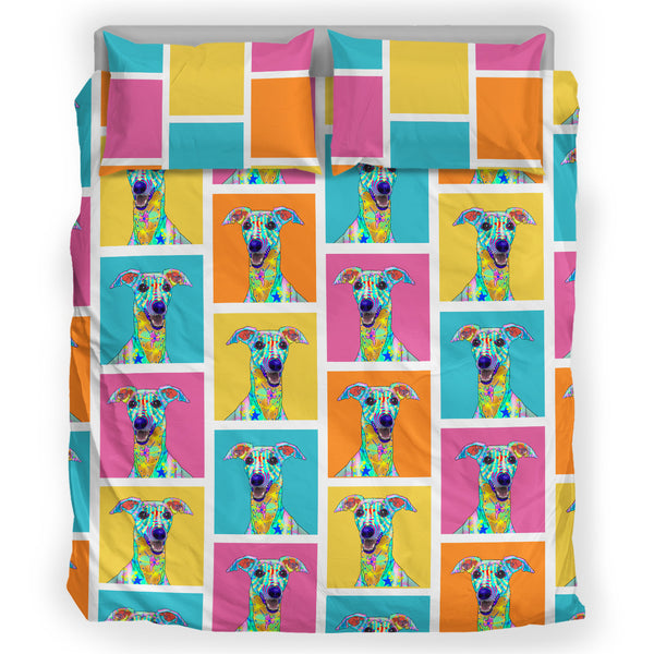 Whippet Dog Breed Duvet Cover Bedding Set (Colorful Rectangles)