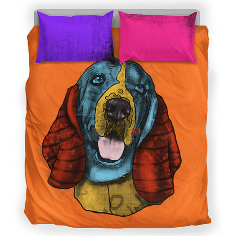 Basset Hound Dog Breed Duvet Cover Bedding Set (Andy Warhol Style)