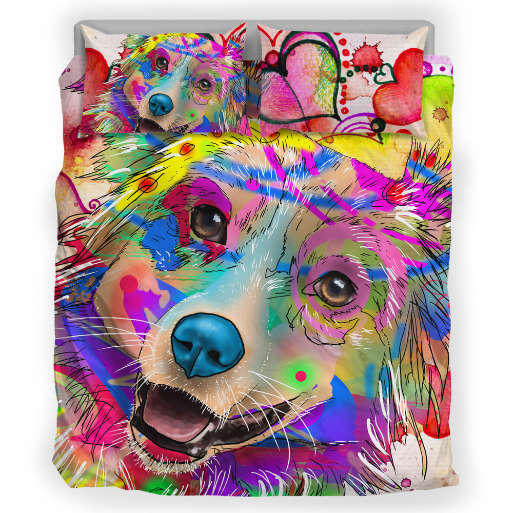 Australian Shepherd Dog Breed Duvet Cover Bedding Set (Watercolor Dreams)