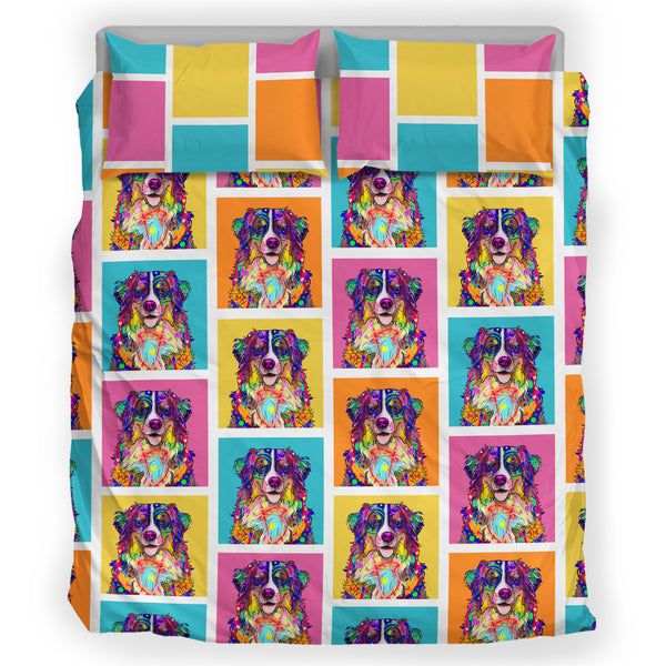 Bernese Mountain Dog Breed Bed Sheets Duvet Cover Bedding Set (Colorful Rectangles)
