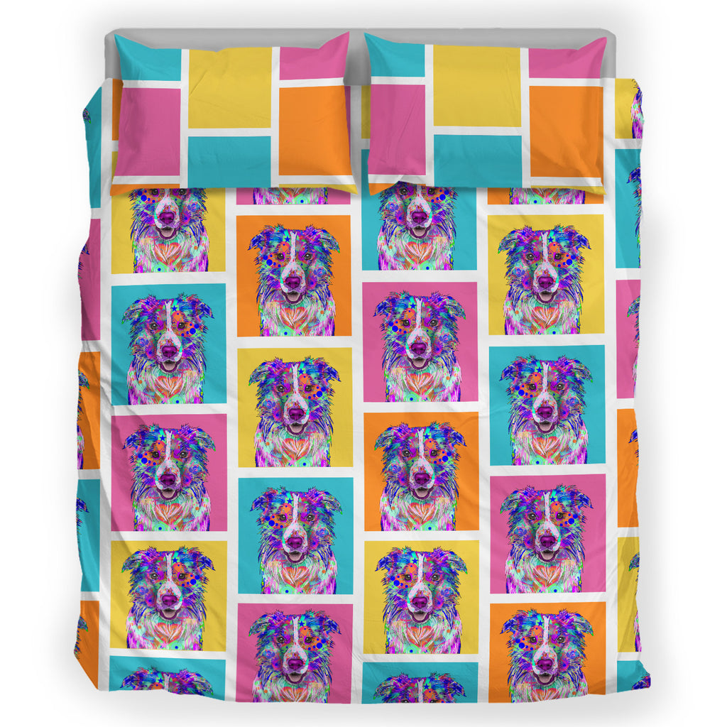 Border Collie Dog Breed Duvet Cover Bedding Set (Colorful Rectangles)