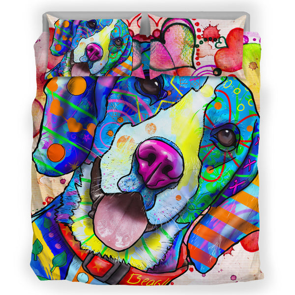 Beagle Dog Breed Bed Sheets Duvet Cover Bedding Set (Watercolor Dreams)